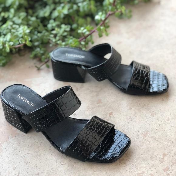 7054d41a7bc18 Topshop Black Croc Embossed Square Toe Sandal Heel.  M_5be8cfe3c2e9fe163c35b262
